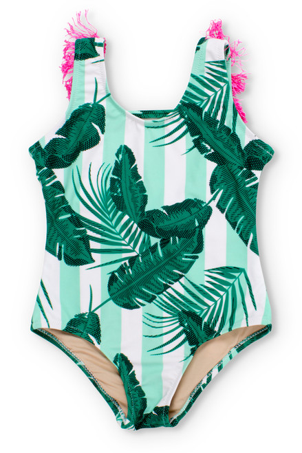 Mint Cabana Botanical Scoop Swimsuit w/Fringe  by Shade Critters UPF50