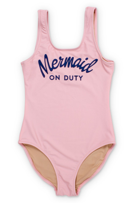 Pink Mermaid on Duty Scoop Swimsuit (Scales appear when wet!)  by Shade Critters UPF50