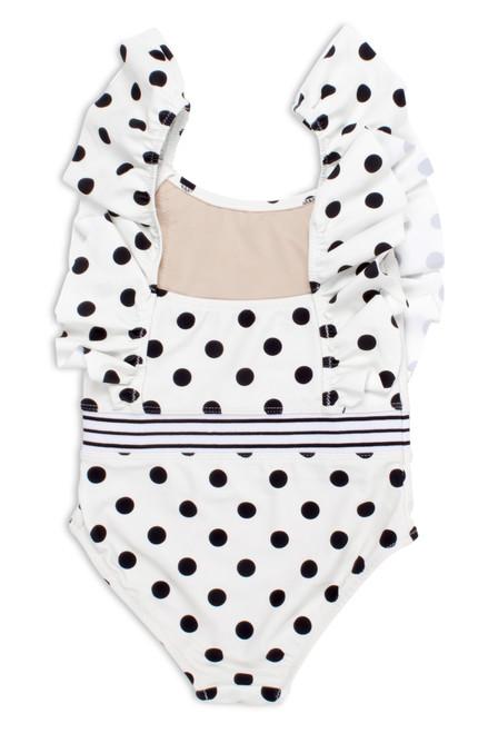 Black/White Polka Dot Ruffle Shoulder Swimsuit  by Shade Critters UPF50 Alt Image