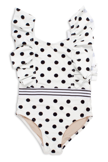Black/White Polka Dot Ruffle Shoulder Swimsuit  by Shade Critters UPF50