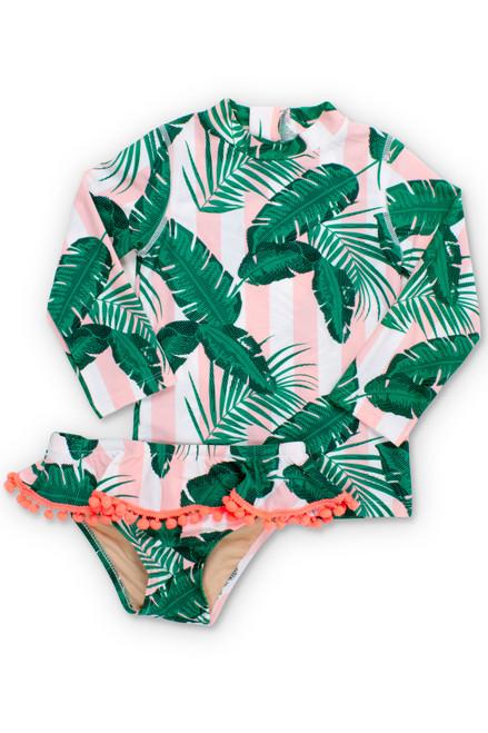 Pink Cabana Botanical Rashguard Set  by Shade Critters UPF50