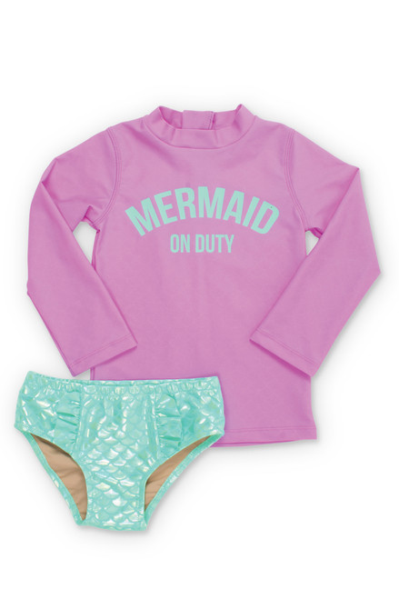 Lilac Mermaid on Duty Rashguard Set (Scales appear when wet!)  by Shade Critters UPF50