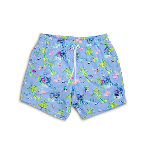 Men's Periwinkle Tiki Swim Shorts
