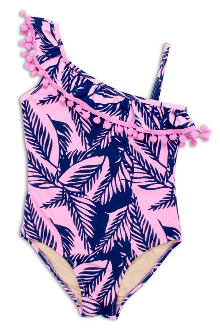Tween Navy/Pink Palm Reader One Shoulder Swimsuit  by Shade Critters UPF50