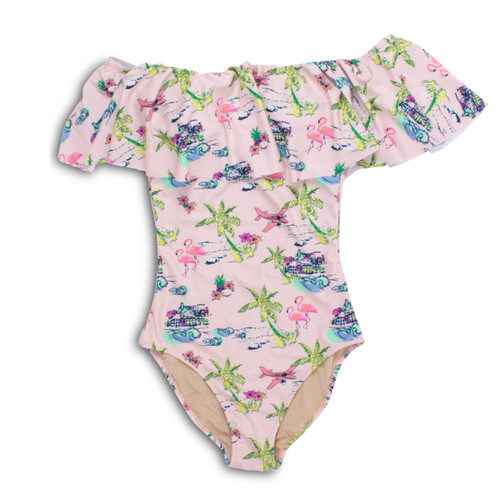 Women's Pink Tiki Off the Shoulder Swimsuit  by Shade Critters UPF50