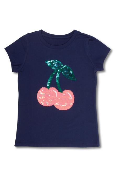 Navy Flip Sequin Tee Shirt with Cherries