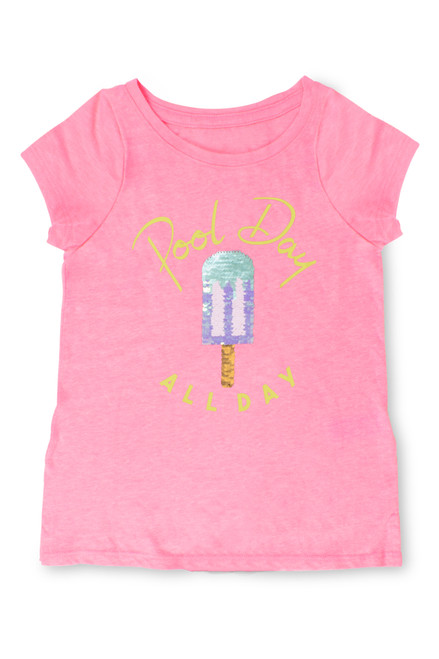Pink Flip Sequin T-Shirt with Popsicle Graphic