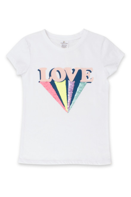 White Love Flip Sequin T-Shirt