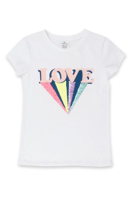 White Love Flip Sequin T-Shirt