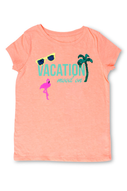 Coral Vacation Mood On Flip Sequin T-Shirt