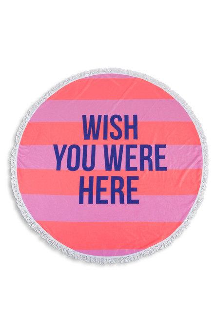 Wish You Were Here Round Striped Beach Towel