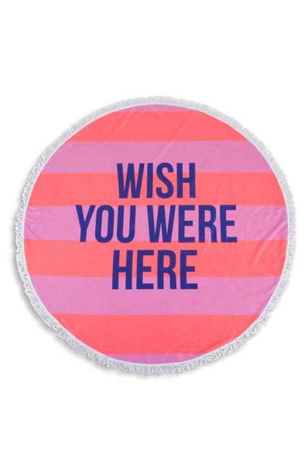 Wish You Were Here Round Striped Beach Towel