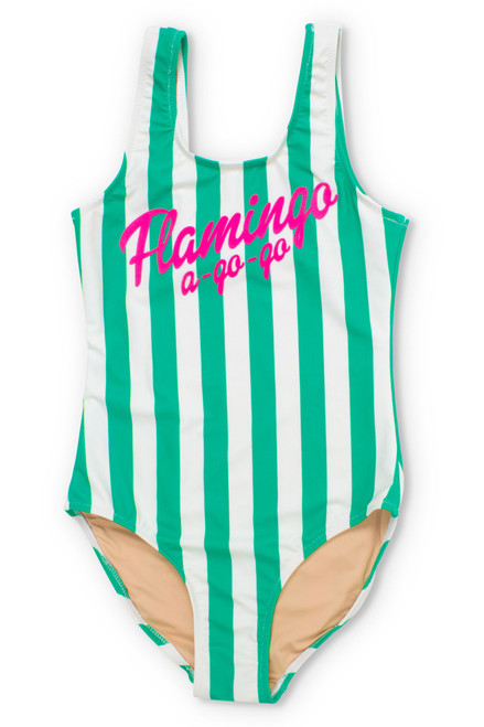 Flamingo A Go-Go Green Stripe One Piece