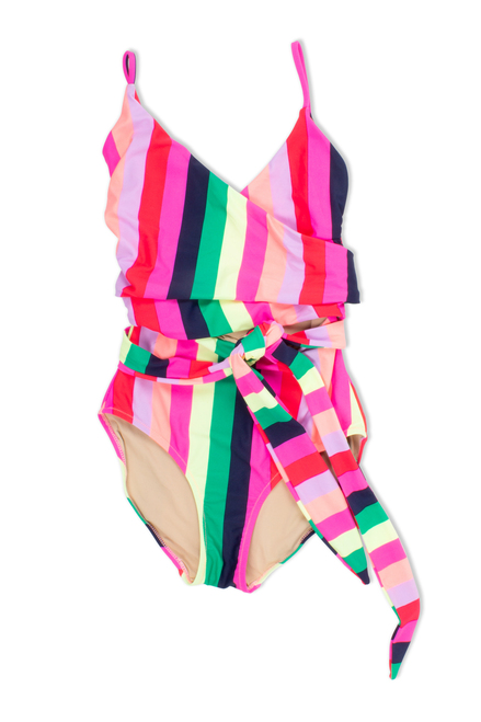 Women's Wrap One Piece - Multi Stripe