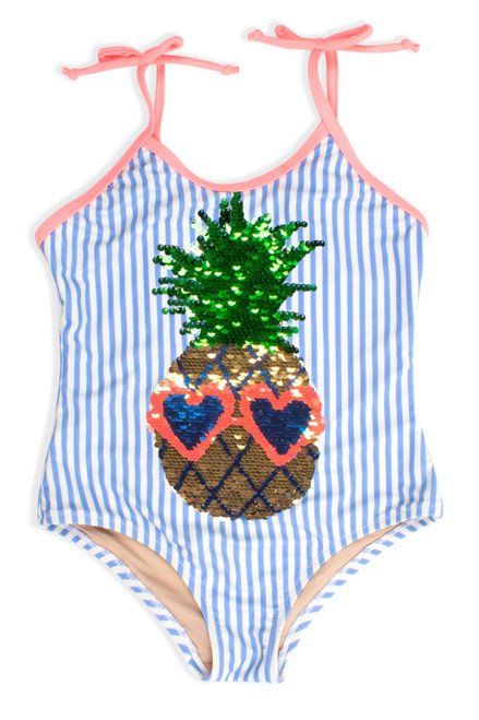 One Piece Flip Sequins - Pineapple Blue Pinstripe