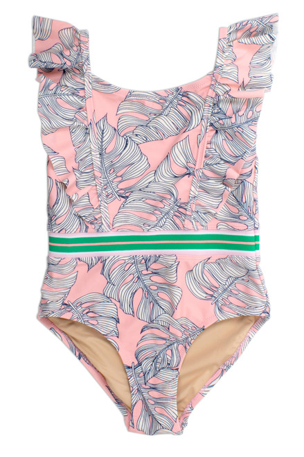 One Piece Ruffle Shoulder - Pink Monstera