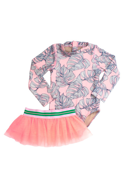 One Piece Longsleeve w/ Tutu - Pink Monstera