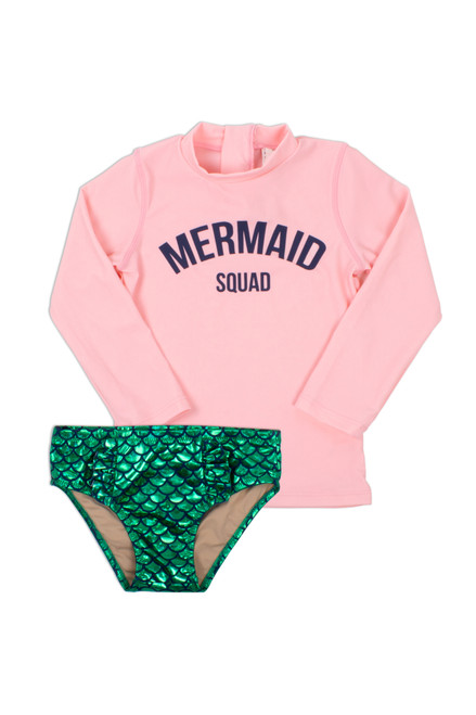 Rashguard Set Mermaid Squad - Pink & Green