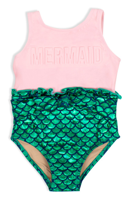 Image of One Piece Puffed Mermaid Swimsuit - Pink & Green