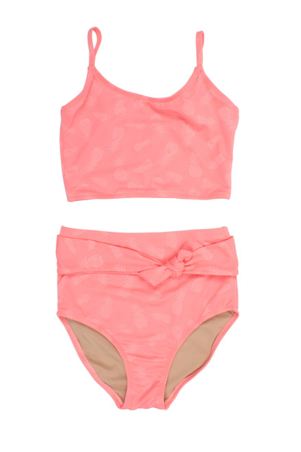 Two Piece tankini - belted coral textured pineapple suit