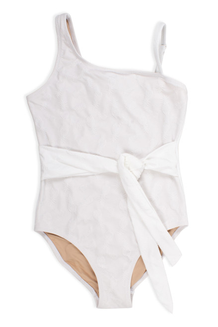 One shoulder One Piece - belted white textured pineapple suit