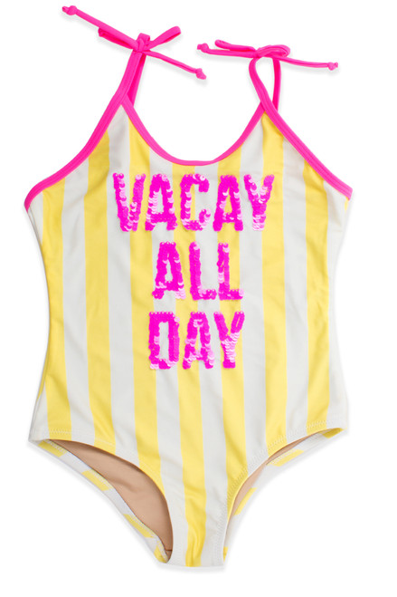 """One Piece flip sequins - yellow striped """"vacay"""" suit"""