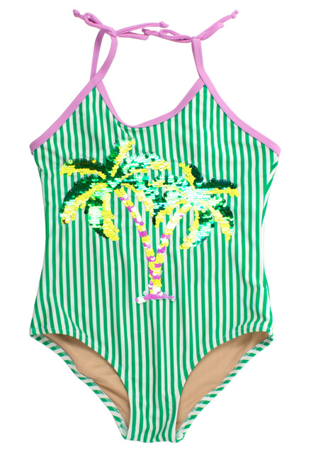 One Piece flip sequins- green stripe palm trees suit