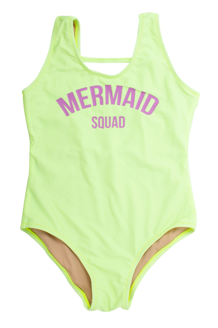 "One Piece tank suit- neon citron ""mermaid squad"" suit"