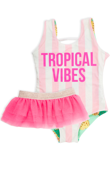 One Piece reversible tank suit - pink pineapple stripe print suit