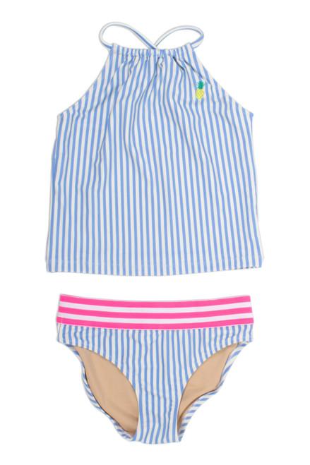 Two Piece Tankini - french blue stripe halter neckline