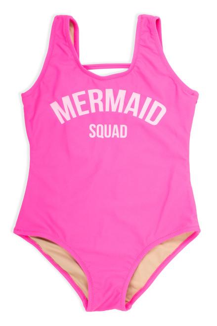 "One Piece tank suit- hot pink ""mermaid squad"" suit"
