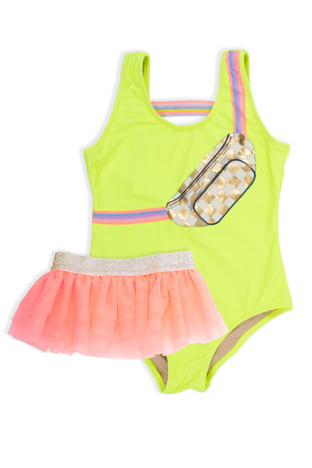 One Piece tank suit w/ tutu - citron fanny pack