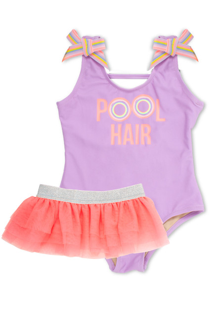 """pic of One Piece tanksuit w/ tutu - purple """"pool hair"""" with athletic stripe detail"""