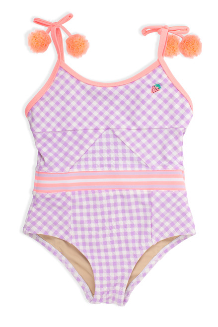 One Piece cutout back - purple gingham