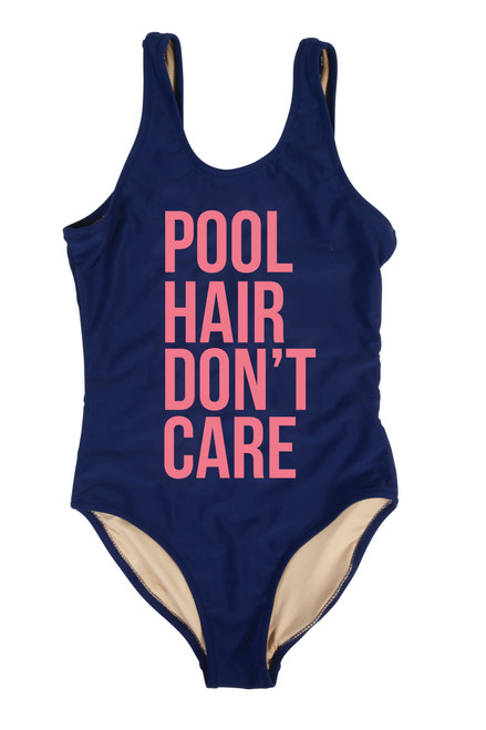 "One Piece tank suit -navy "" pool hair"""