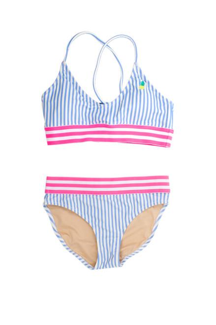 Two Piece tie back bikini -blue pinstripe embroidered pineapple