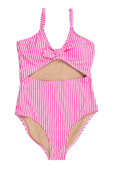 One Piece cutout - neon pink seersucker stripe