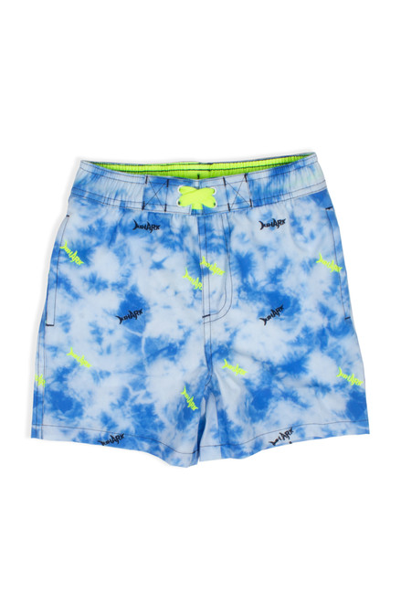 Boys Swim Trunks - Blue Tie Dye Shark