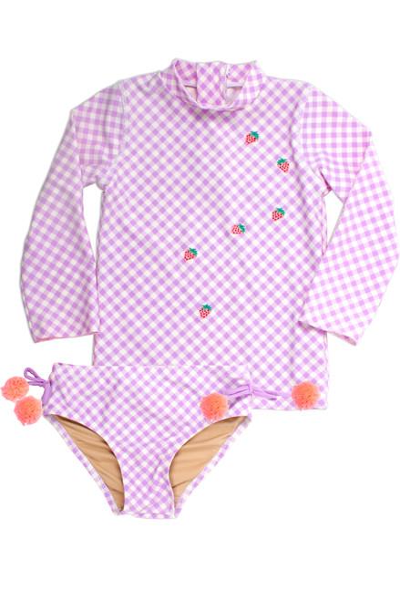 Purple Gingham Strawberry Embroidered Rashguard Set Image
