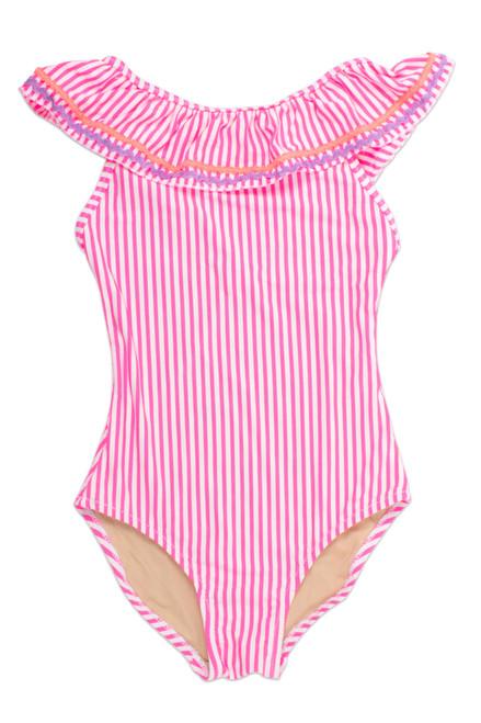 One Piece Off the Shoulder - Pink Seersucker