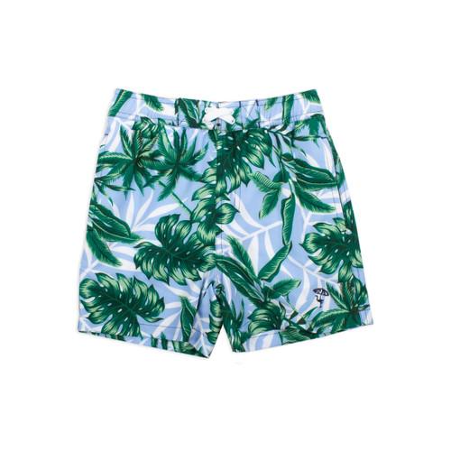 4 Way Stretch Boys Swim Trunks- Blue Tropical