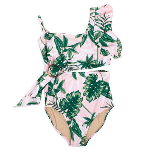 One piece Drape Shoulder Women's -Pink Palm