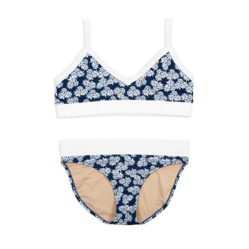 Two Piece Bikini - Navy Daisy w/ Ribbed Trim