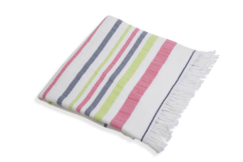 Woven Terry Lined Beach Towel - Pink/Lime/Navy by Shade Critters