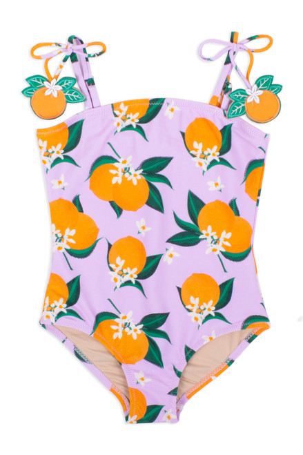 One Piece Belted Tank Suit- Lilac w/ Orange Details