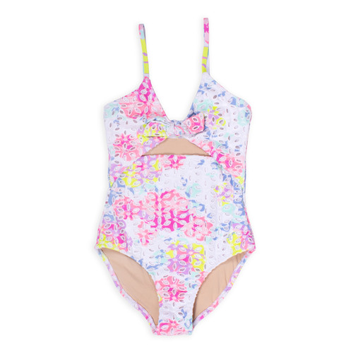picture of ST01K-184 -cutout monokini - floral eyelet