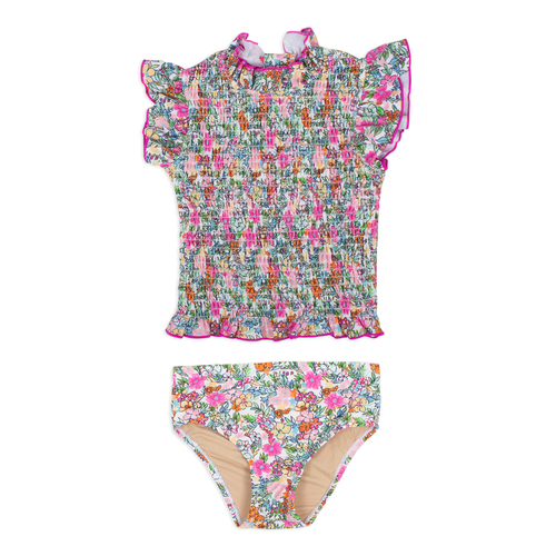 picture of SG02C-195 -smocked rashguard set - ditsy  floral