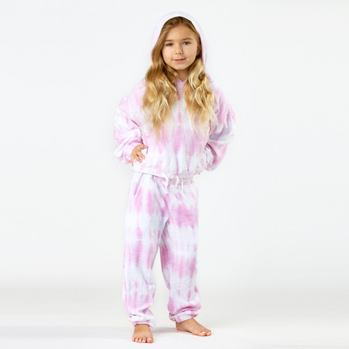Terry Jogger Hoodie- Pink Tie Dye front