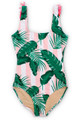 Women's Pink Cabana Botanical Scoop Swimsuit w/Fringe  by Shade Critters UPF50
