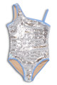 Tween Periwinkle/Silver Flippable Sequins One Shoulder Swimsuit by Shade Critters UPF50 alt